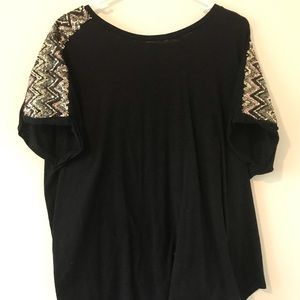Black tee with embellished sleeves